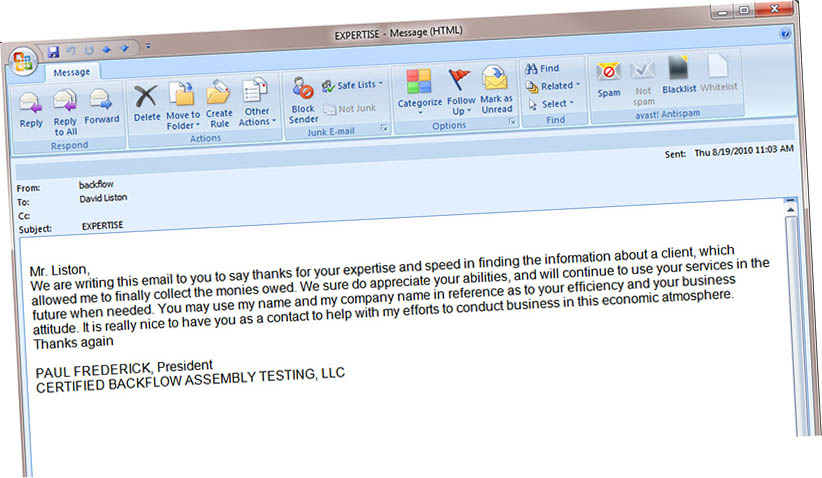 Expertise email from Certified Backflows Private Investigation Results